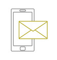 yellow line smartphone technology with text letter vector image vector image
