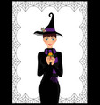 young cute witch in long black dress scarf and vector image vector image