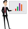 Business man pointing at chart vector image