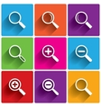 Zoom icons Search symbols Magnifier Glass vector image