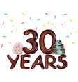 30 years celebrating colored card vector image