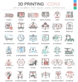 3d printing color line outline icons vector image vector image