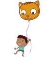 A boy holding a cat balloon vector image vector image