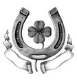 antique horseshoe and clover leaf with ribbon vector image vector image