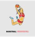 basketball slam dunk girl player vector image vector image