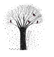 Beautiful trees birds and rabbit vector image vector image