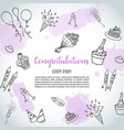 birthday party doodle background template vector image vector image