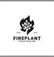black and white fire leaf logo design inspiration vector image vector image
