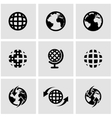 black world map icon set vector image vector image