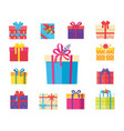 boxing packs set presents wrapped in paper bow vector image
