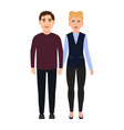 boy and girl hold hands couple in love happy vector image