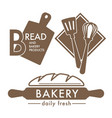 bread isolated icons bakery shop kitchen tools and vector image