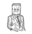 businessman paper bag lend hand for handshake vector image vector image