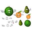 Cartoon watermelon avocado and apricot fruits vector image vector image