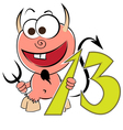 Cheerful devil with the number thirteen vector image