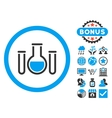 Chemical Vessels Flat Icon with Bonus vector image vector image