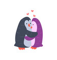 couple of cute penguins in love embracing each vector image vector image