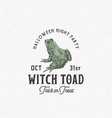 creepy witch toad halloween night party sign logo vector image vector image