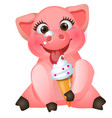 cute animated pig eating sweet ice cream isolated vector image