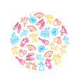 dancing signs thin line icon round design template vector image