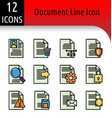 document line color icon vector image vector image