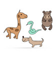 doodle animal set icon isolated on white outline vector image vector image