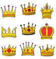 doodle set crown elegant style vector image vector image
