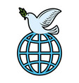 dove of peace with planet vector image