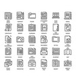 files and documents flat line icons vector image vector image