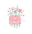 flower shop logo template badge for floral vector image vector image