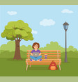 freelancer happy young woman working on the bench vector image