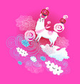 funny animals on a white alpaca with a rose vector image vector image