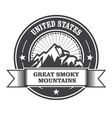 Great Smoky Mountains stamp - label with ribbon vector image vector image