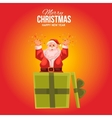 Greeting card with cartoon Santa Claus popping out vector image vector image
