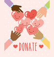 hands with kawaii hearts unity donate image vector image