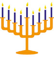hanukkah candles icon isolated jewish festival of vector image