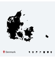 High detailed map of Denmark with navigation pins vector image vector image