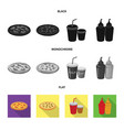 isolated object of pizza and food icon collection vector image