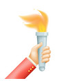 isolated victory flame hand hold fire torch icon vector image vector image