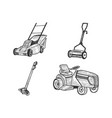 lawn mower grass cutter set sketch vector image vector image