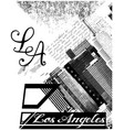 los angeles usa skyline silhouette black and vector image
