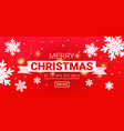 merry christmas banner with snow on red vector image