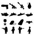 Military and war silhouettes icons set vector image vector image