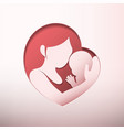 mother holding baby in heart shaped silhouette vector image