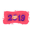 new years a cartoon pig with inscription vector image vector image