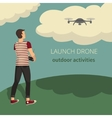 on the theme of launch drone vector image vector image