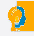 one line forming a head with lightbulb vector image vector image
