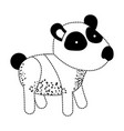 panda cartoon in black dotted silhouette vector image