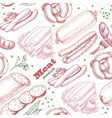 pattern with meat products vector image vector image