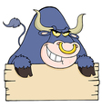 Purple Bull Looking Over A Blank Wood Sign vector image vector image